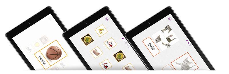 """Imagen de tres tablets con la app para aprender a leer """"Yo también leo"""" instalada"""